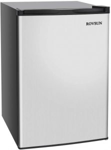 ROVSUN Upright Freezer with 2 Shelves and Reversible Stainless Steel Door