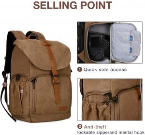 BAGSMART Anti-theft Water Resistant Camera Backpack with Rain Cover (Khaki)