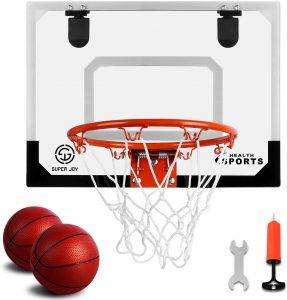 SUPER JOY Pro Indoor Hoop Over The Door Mini Basketball for Kids and Adults