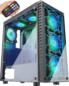 MUSETEX Phantom Black Computer Chassis ATX Mid-Tower Case with Tempered Glass Panels