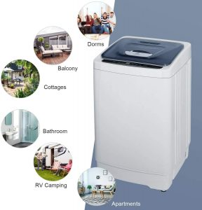 MOOSOO Full-Automatic 10 lbs Portable Washing Machine for RV, Camping and Apartment